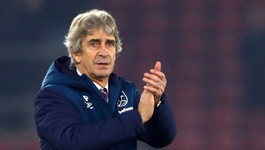 West Ham manager Manuel Pellegrini applauds the fans after the win at Southampton