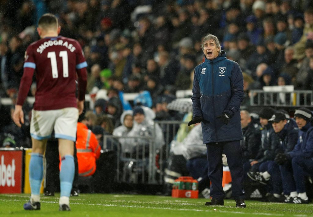 West Ham manager Manuel Pellegrini barks orders from the touchline