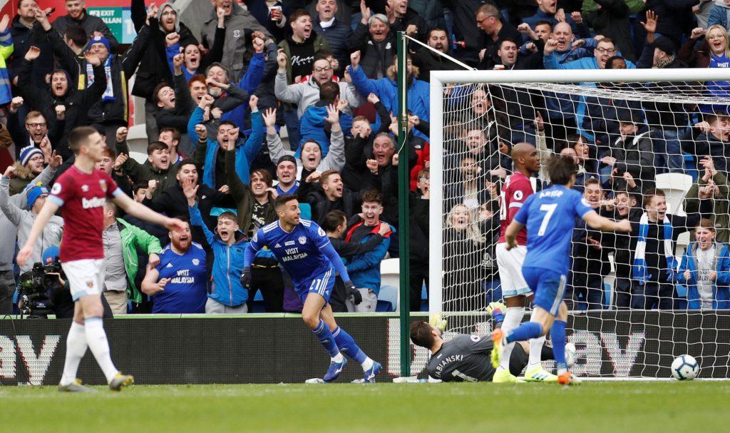Viictor Camarasa scores against West Ham